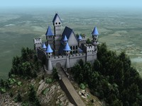 Medieval Castle Scene With Land