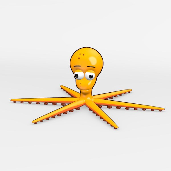 3d model squid cartoon