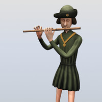 medieval musician playing flute 3d 3ds