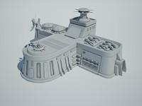 3d futuristic sci fi building