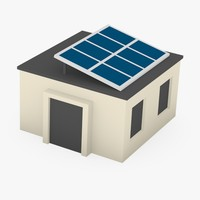 3d model of cartoon house solar panels