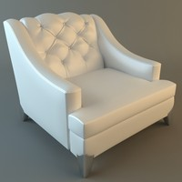 White Armchair Tufted Back