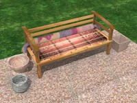 Garden wooden sofa 3D Model