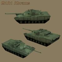 3d m1a1 battle tank model