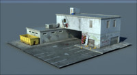 Police Station Post-Apocalyptic Low Poly