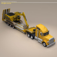 Truck with stepframe trailer and excavator
