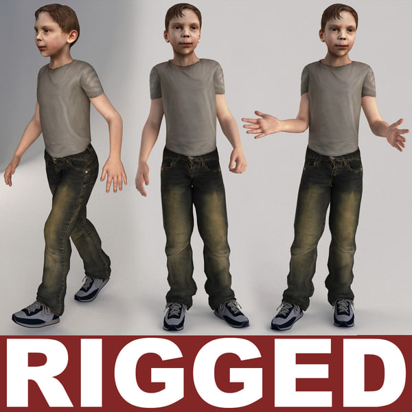 3d model of boy 10 13 years rigged by 3d molier for 3ds max face modeling