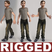 3d boy 10-13 years rigged model