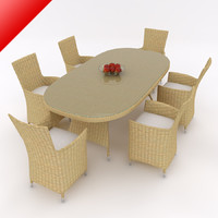 Rattan Dining Table Set 02