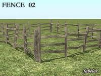 3d wooden fence 8 model