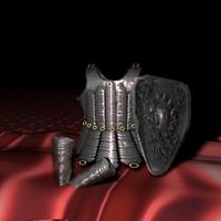 armor shin 3d obj