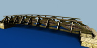 wooden bridge wood 3d model