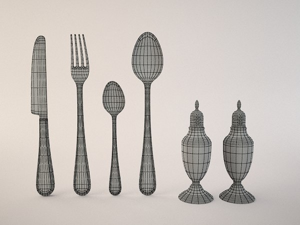 3d model 1 set - Silverware - Utensil set(1)... by 3dKiosKo