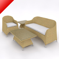 Rattan Lounge Sofa Set 02