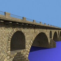 3d model of arched stone bridge