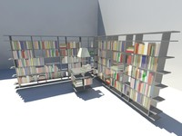 3d model of book shelf -