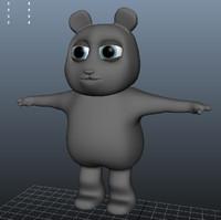 cartoon panda bear obj