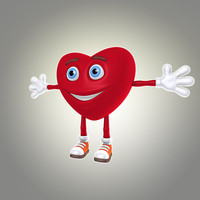 cool cartoon heart 3d model