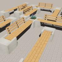 modular bench 3d 3ds