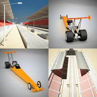 3d model dragway stadium fuel dragster