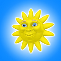 cool cartoon sun 3d lwo