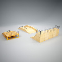 3d skatepark ramp vertices model