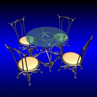 Art Deco Metal Table with Chairs