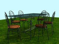 wrought iron garden furniture 3d model