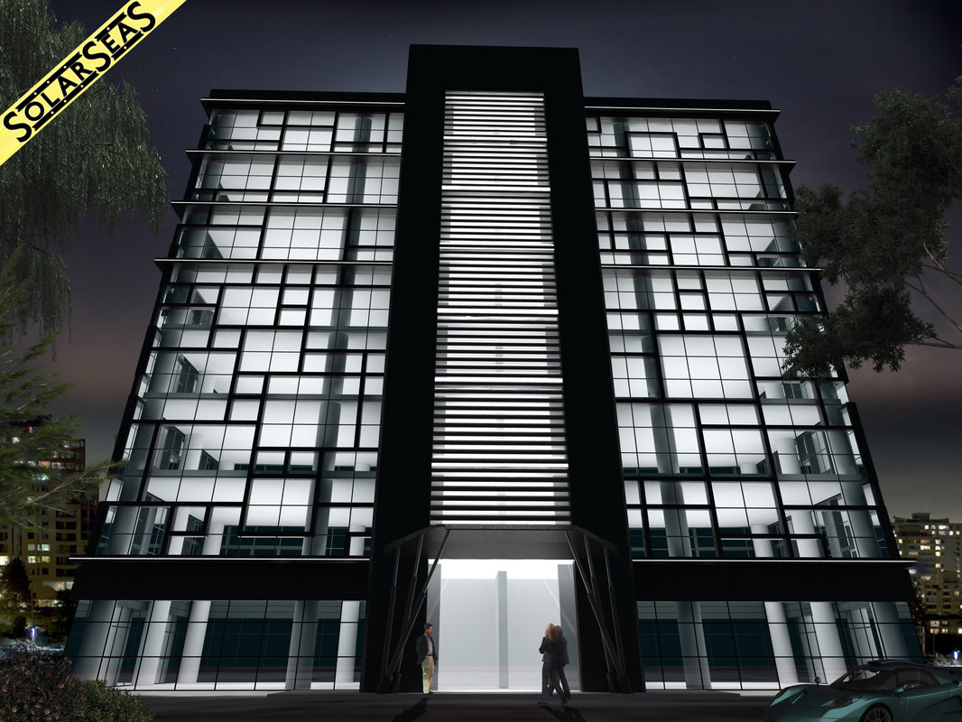Modern office building facade 3d max for 3d max building
