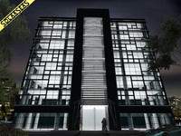 modern office building facade 3d max