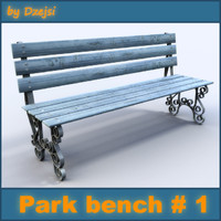 painted park bench 3d 3ds