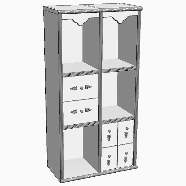 bookshelves storage details 3d model - Display Case Cabinet... by 3dfurniture
