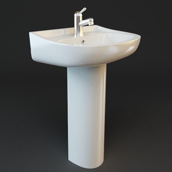 Pedestal sink bathroom 3d model for Bathroom design 3d model