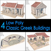 Classic Greek Buildings Collection, Low Poly, Textured