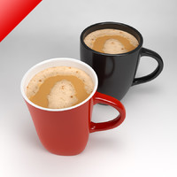 3d mugs filled foamy tea model