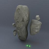 3d model set asteroids