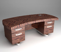 zebrawood desk double 3d model