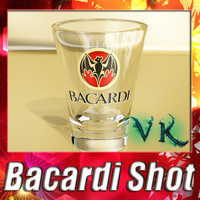 Photorealistic Bacardi glass shot