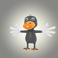 3d model cool cartoon bird