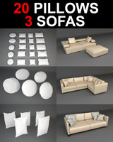3d sofa pillow model