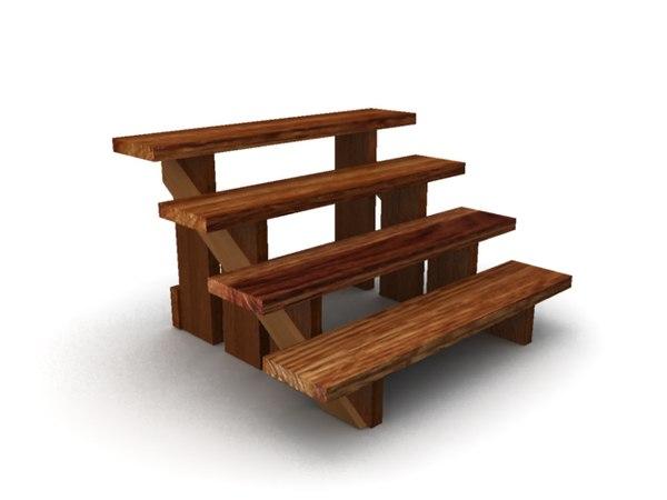 3d Model Wooden Steps