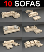 sofa leather pillow 3d model