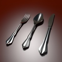 3d fork knife spoon table