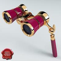 3d model opera glasses pink v3