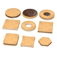 3d model biscuits filled