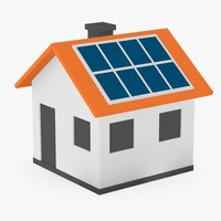 cartoon house solar panels 3ds