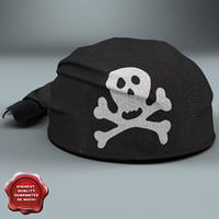 pirate scarf hat black 3d model