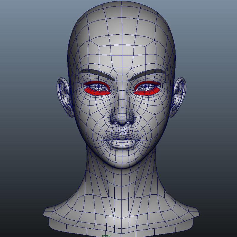 3d girl head model for 3ds max face modeling
