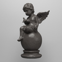 3ds max statue angel dove