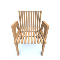 curved wooden chair 70 s 3d model